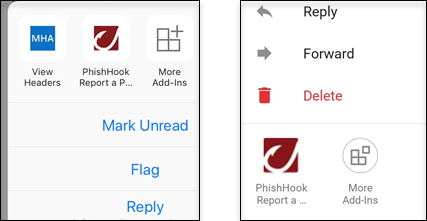 The PhishHook icon on the Context menu in Outlook iPhone/Android