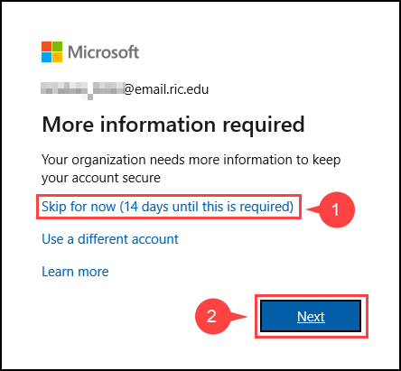 Office 365: More information Required