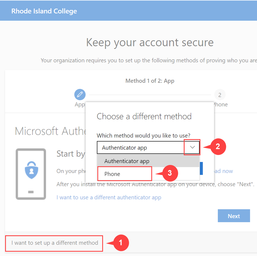 Office 365: select different authentication method (1 of 2)