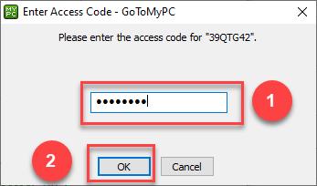 Screenshot of the dialog to enter the Accesd Code