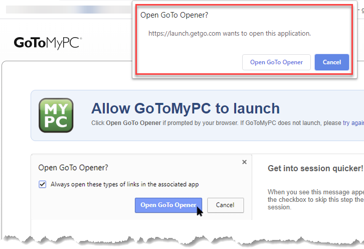 Screenshot from the first use of open GoTo Opener