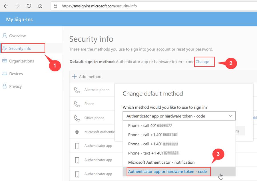 Change Default Verification method