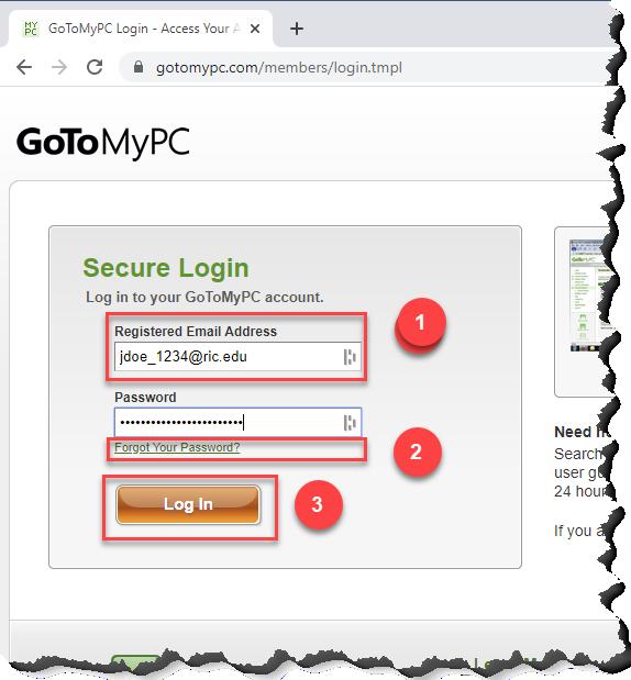 Screenshot of the GoToMyPC logon page
