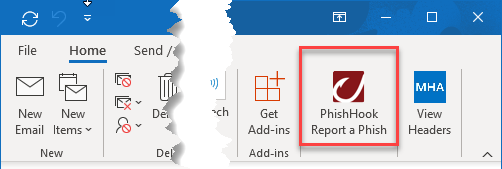 The Home Ribbon in Outlook for Windows and the location of the Phishhook Add-in