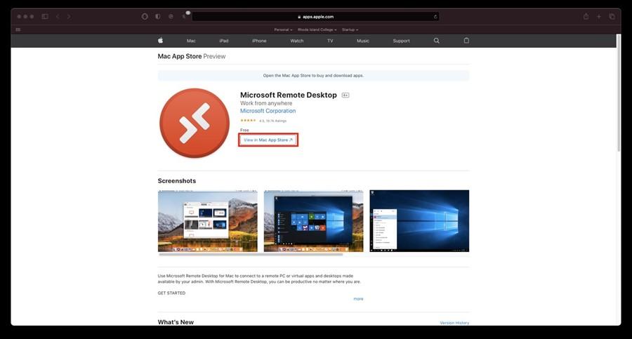 MAC app store Windows Virtual Desktop app
